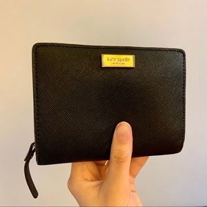 Kate Spade Black Zip Around Compact Wallet